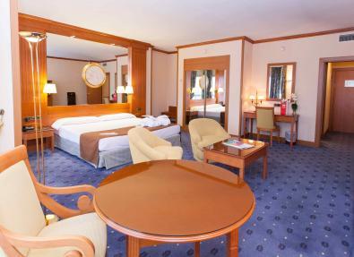 Habitación grande cama de matrimonio televisor Hotel Los Bracos Logroño