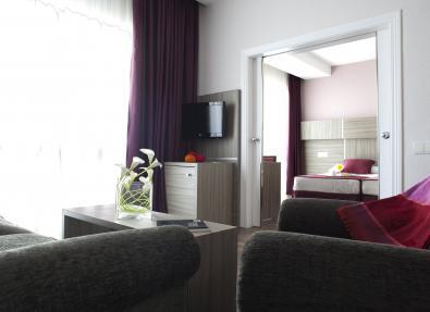Habitación doble dos camas con televisor Hotel Serrano Madrid